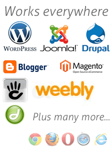 our snippet works with wix, weebly, squarespace, wordpress and many more